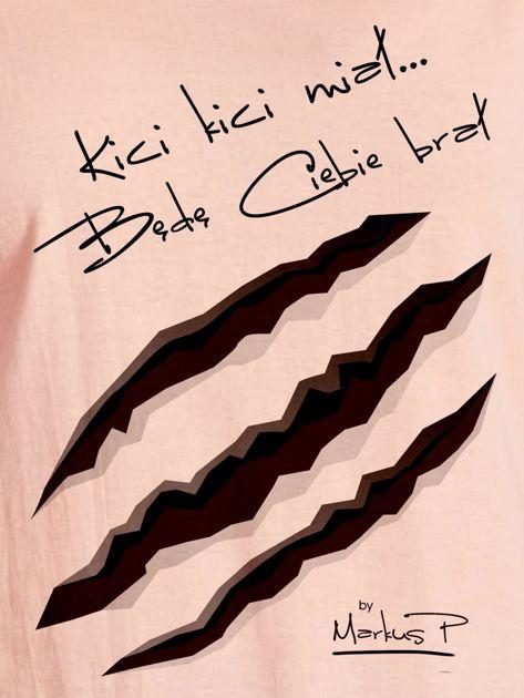 Łososiowy t-shirt damski KICI KICI MIAŁ by Markus P                                  zdj.                                  2
