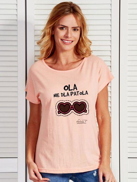 Łososiowy t-shirt damski OLA NIE DLA PATOLA by Markus P                              zdj.                              1