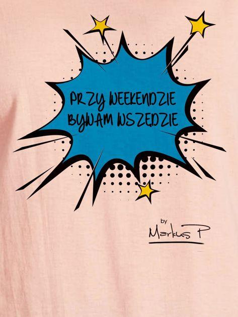 Łososiowy t-shirt damski PRZY WEEKENDZIE BYWAM WSZĘDZIE by Markus P                              zdj.                              2