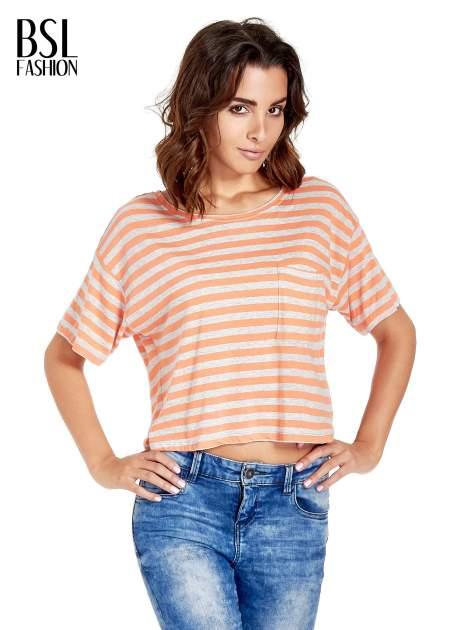 Luźny krótki t-shirt z kieszonką w pomarańczowe paski                                  zdj.                                  1
