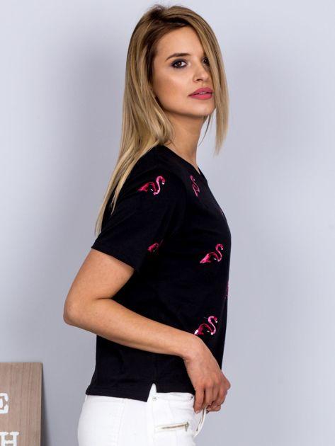 Luźny t-shirt we flamingi czarny                              zdj.                              3