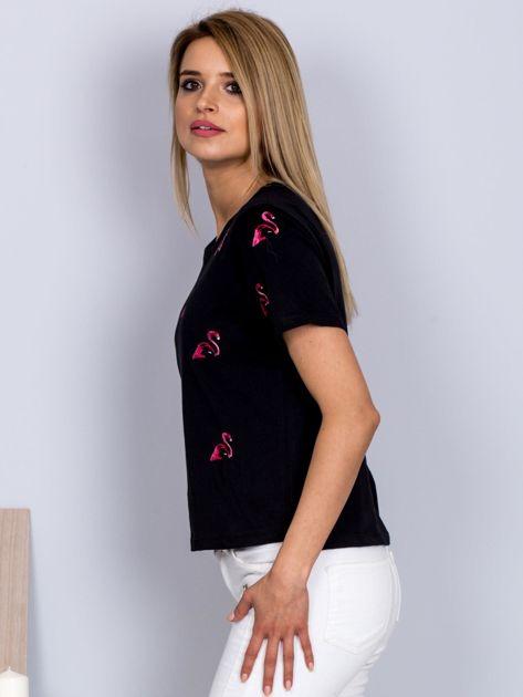 Luźny t-shirt we flamingi czarny                                  zdj.                                  5