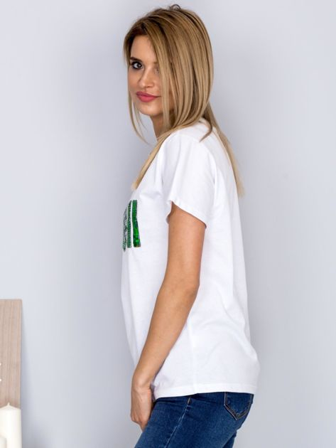 Luźny t-shirt z cekinowym napisem SUSHI biały                              zdj.                              5