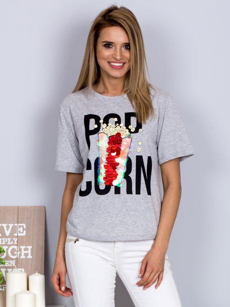 Luźny t-shirt z nadrukiem popcornu z cekinami jasnoszary                                  zdj.                                  1