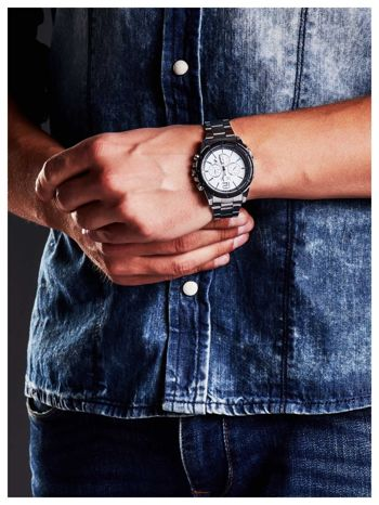 M&H -Klasyka i elegancja srebrny męski zegarek na bransolecie                                   zdj.                                  2