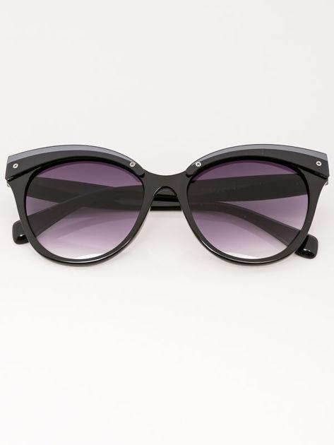 MANINA Okulary przeciwsłoneczne damskie czarne szkło szaro-fioletowe dymione                              zdj.                              2