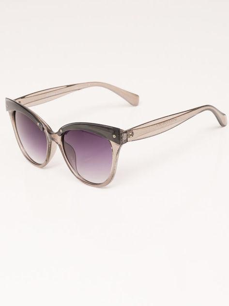 MANINA Okulary przeciwsłoneczne damskie szare z brokatem szkło szaro-fioletowe dymione                              zdj.                              6