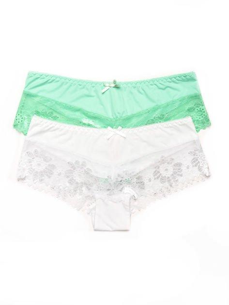 Majtki szorty damskie z koronką 2-pak biało-zielone