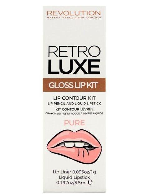 Makeup Revolution Retro Luxe Gloss Lip Kit Zestaw do ust konturówka 1g + pomadka w płynie 5,5ml Pure