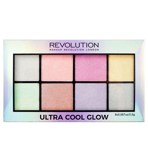 Makeup Revolution Ultra Cool Glow Paleta 8 rozświetlaczy 20g