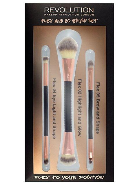Makeup Revolution Zestaw pędzli do makijażu Flex & Go Brush Set 3 szt.