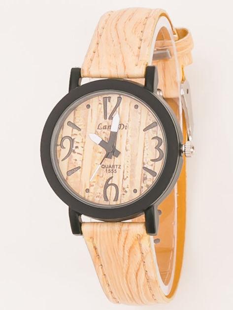Mały zegarek damski w kolorze imitującym drewno