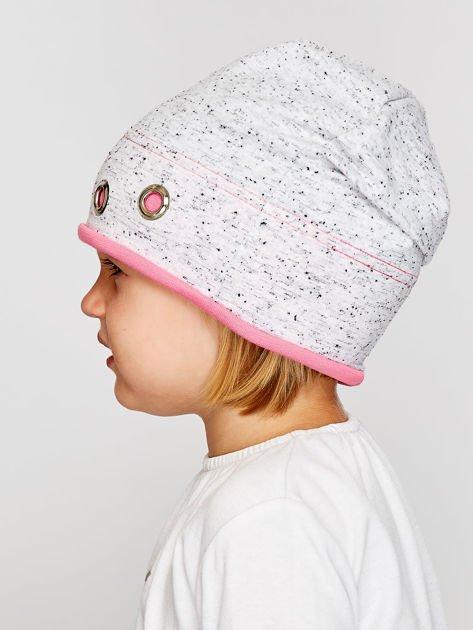 Melanżowa czapka dziewczęca z ozdobnymi nitami szaro-różowa                              zdj.                              3