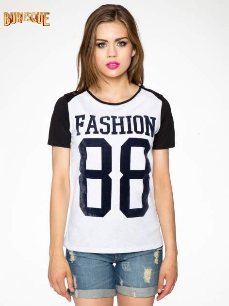 Melanżowo-czarny t-shirt z nadrukiem FASHION 88                                  zdj.                                  10