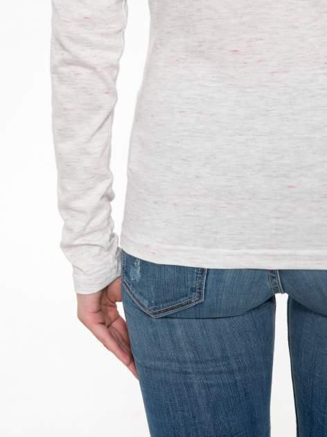 Melanżoworóżowa bawełniana bluzka typu basic z długim rękawem                                  zdj.                                  8