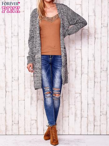 Melanżowy długi sweter z kieszeniami                                  zdj.                                  2