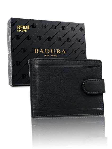 Męski czarny portfel skórzany BADURA