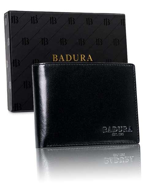 Męski czarny portfel ze skóry BADURA