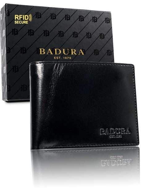 Męski portfel ze skóry naturalnej czarny BADURA