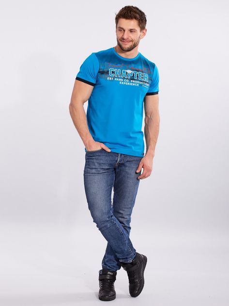 Męski t-shirt bawełniany jasnoniebieski                              zdj.                              4