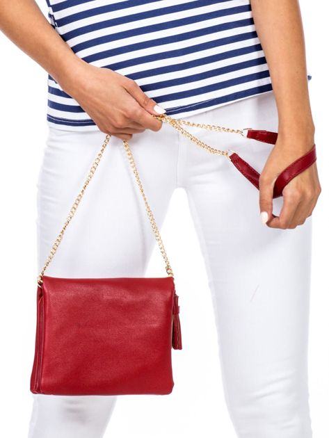 Miękka czerwona torebka na łańcuszku                              zdj.                              3