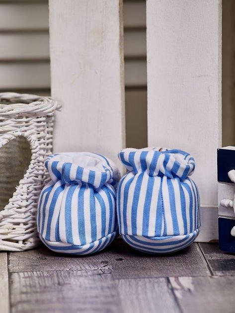 Miękkie buciki dziecięce w paski z ozdobnym kotkiem niebieskie                              zdj.                              3