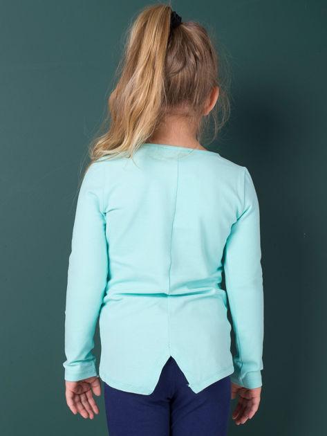 Miętowa bawełniana bluzka dla dziewczynki                               zdj.                              3