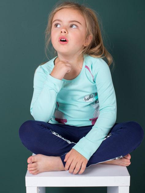 Miętowa bawełniana bluzka dla dziewczynki                               zdj.                              4