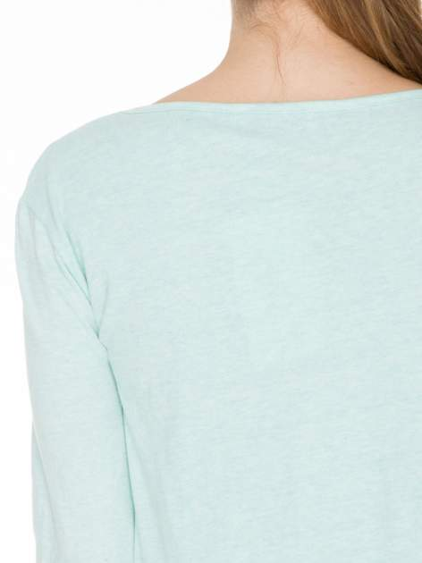 Miętowa bawełniana bluzka z gumką na dole                                  zdj.                                  5