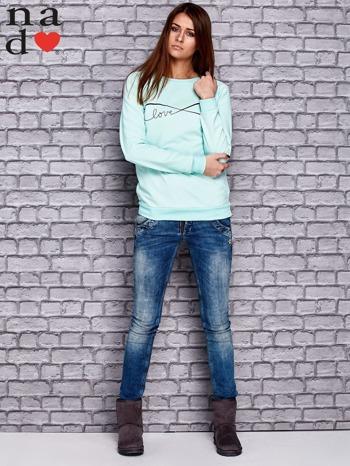 Miętowa bluza z napisem LOVE                                  zdj.                                  2