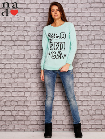 Miętowa bluza z napisem ZŁOŚNICA                                  zdj.                                  2
