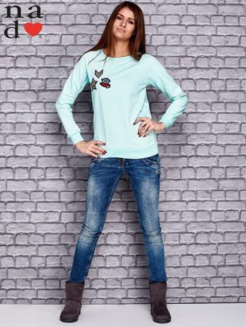 Miętowa bluza z naszywkami                                  zdj.                                  2