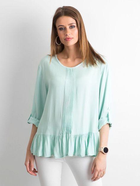 Miętowa bluzka damska z falbaną                              zdj.                              1