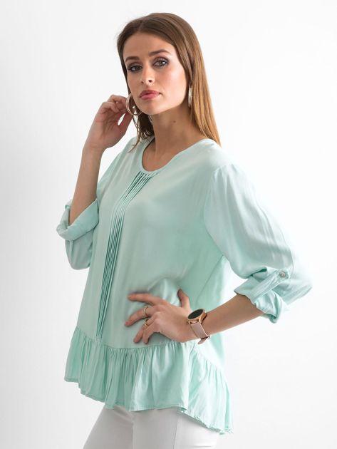 Miętowa bluzka damska z falbaną                              zdj.                              3