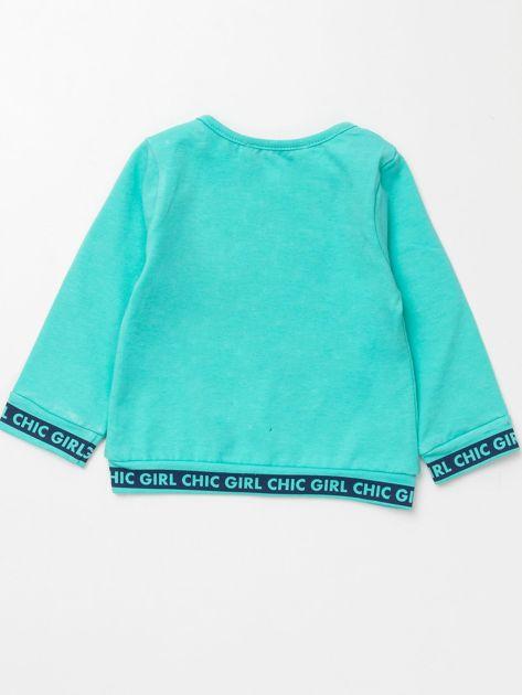 Miętowa bluzka dla dziewczynki z perełkami                              zdj.                              3