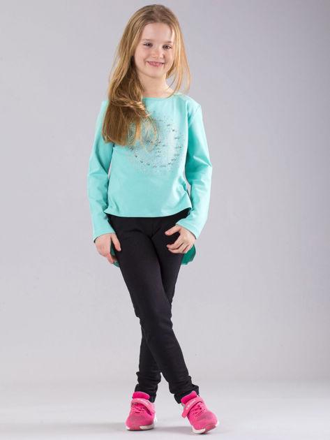 Miętowa bluzka dziewczęca z błyszczącą aplikacją                              zdj.                              4