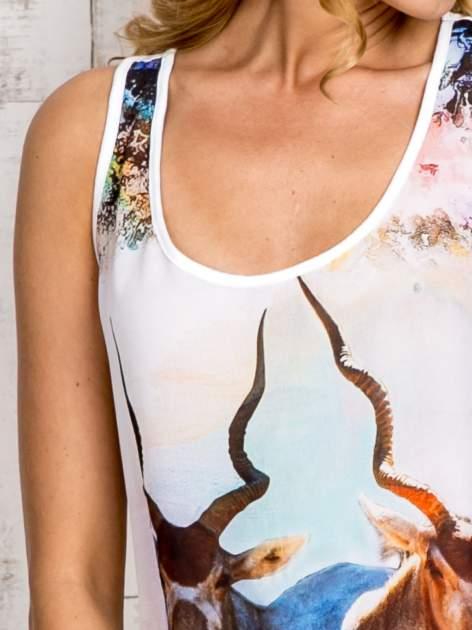 Miętowa bluzka koszulowa z nadrukiem antylopy                                  zdj.                                  6