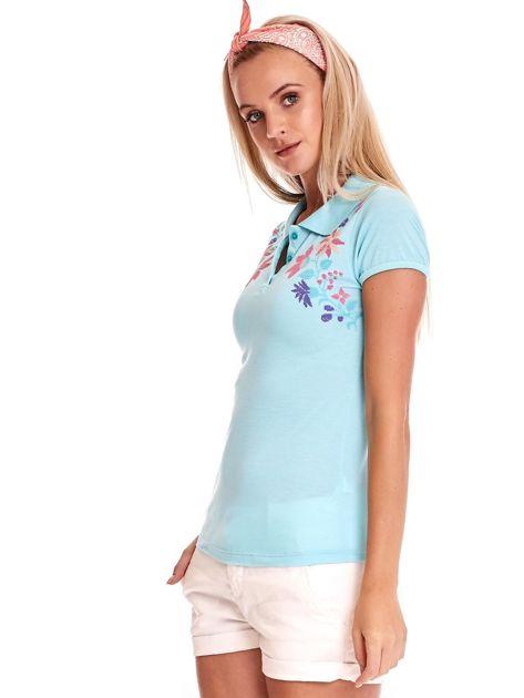 Miętowa koszulka polo z kolorowym kwiatowym printem                              zdj.                              6