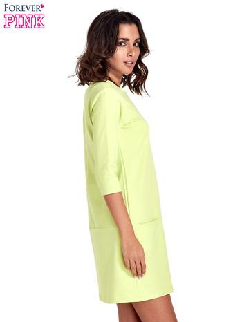 Miętowa prosta sukienka z kieszeniami                                   zdj.                                  3