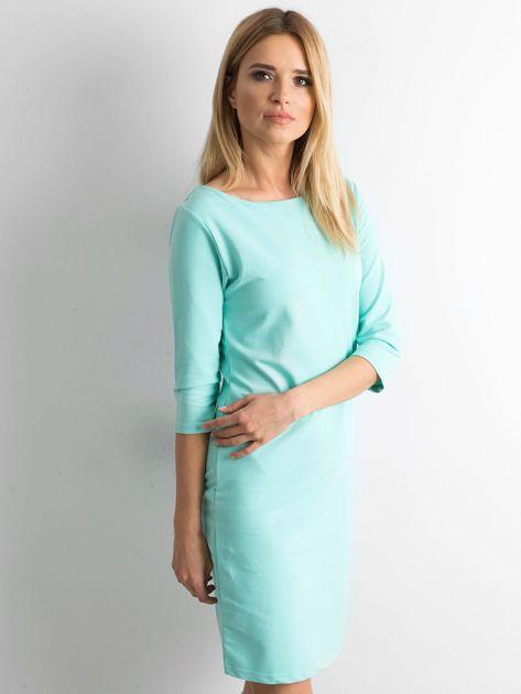 Miętowa sukienka z bawełny                              zdj.                              3