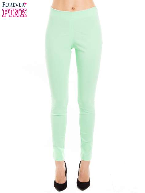 Miętowe dopasowane spodnie typu tregginsy                                  zdj.                                  1