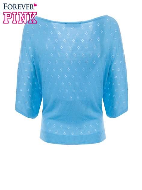 Miętowy ażurowy sweterek z krótkim rękawem                                  zdj.                                  6