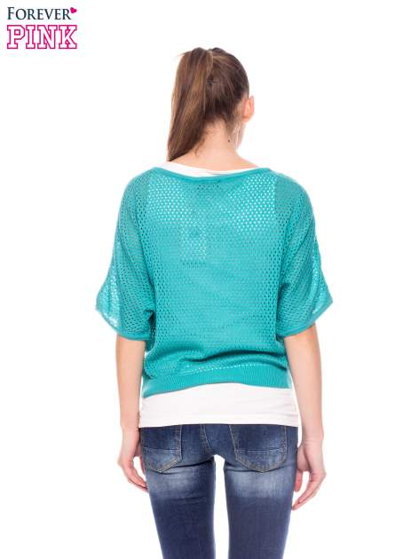 Miętowy siateczkowy sweter oversize                                  zdj.                                  3
