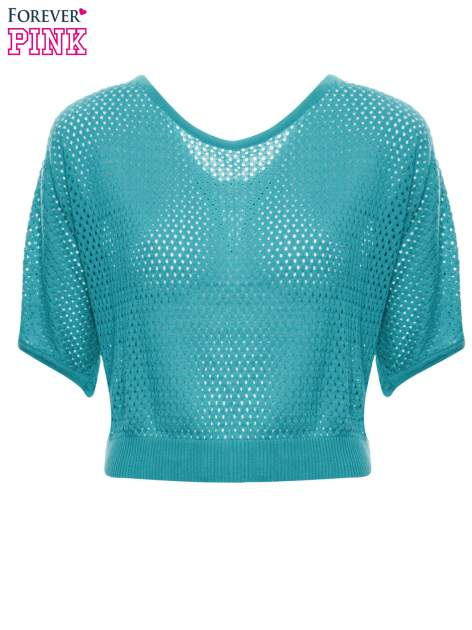 Miętowy siateczkowy sweter oversize                                  zdj.                                  5