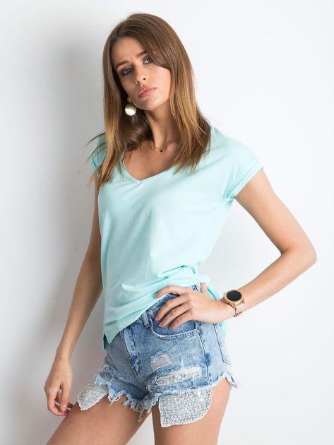 Miętowy t-shirt Vibes                              zdj.                              3