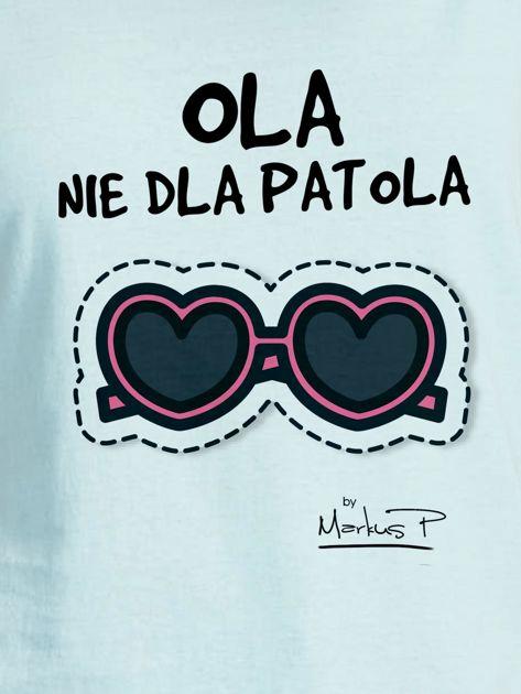 Miętowy t-shirt damski OLA NIE DLA PATOLA by Markus P                              zdj.                              2