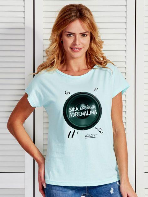 Miętowy t-shirt damski z głośnikiem ADRENALINA by Markus P                              zdj.                              1