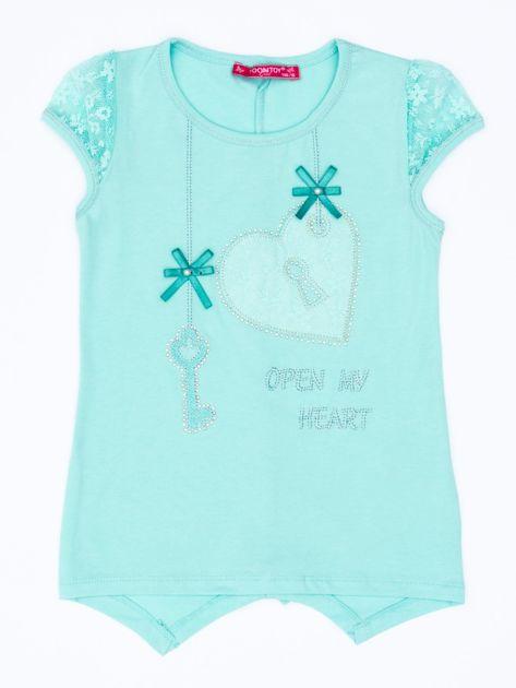 Miętowy t-shirt dla dziewczynki z dżetami                               zdj.                              1
