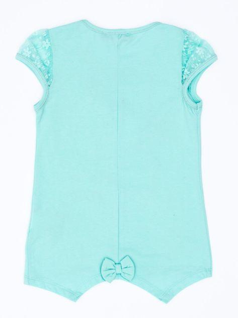 Miętowy t-shirt dla dziewczynki z dżetami                               zdj.                              2