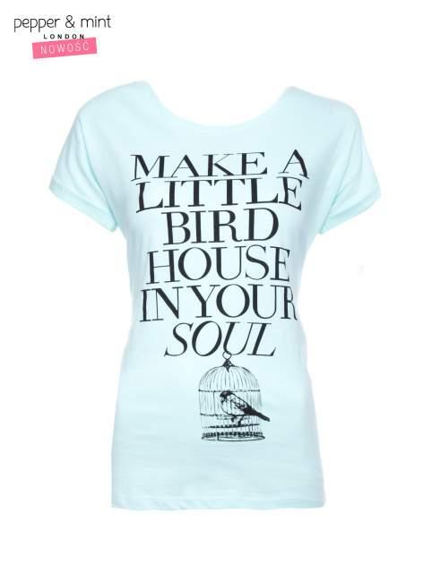 Miętowy t-shirt z nadrukiem ptaszka w klatce                                  zdj.                                  1